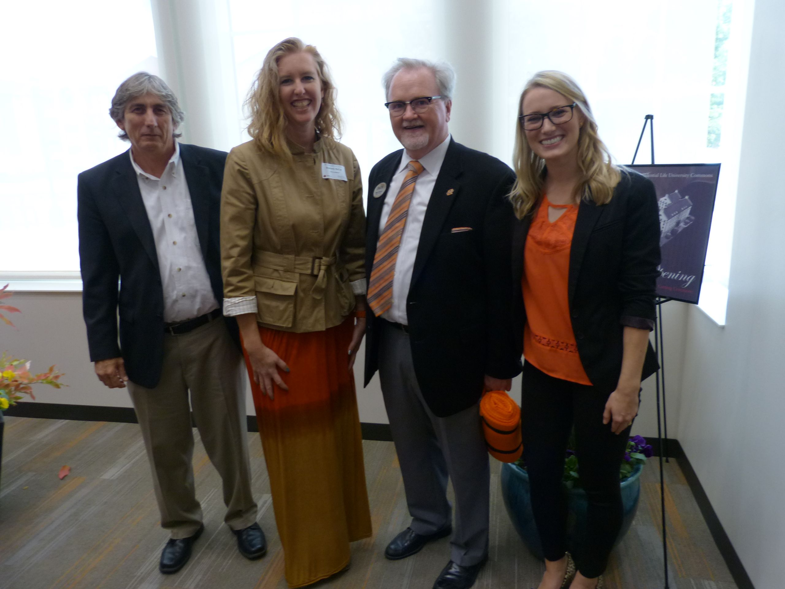 (L to R) Principal-in-Charge Mark Bragg, Project Manager Kim McCoy, OSU Assistant Vice President Student Affairs Mitch Kilcrease, Lead Interiors Emily Sappington, NCIDQ
