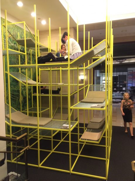 Buzzispace's Jungle Gym offers a variety of seating options in a playful environment.