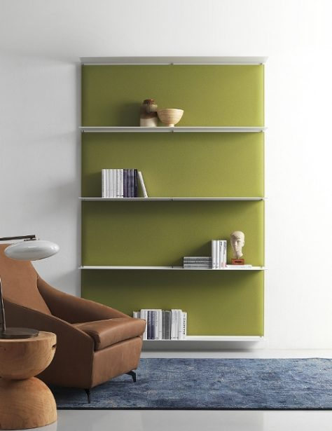 Bookshelf with acoustic panels by Snowsound. (Photo by Snowsound)