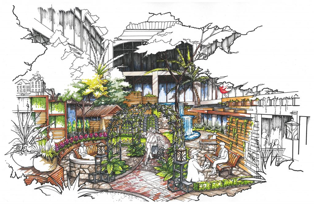 Rick Bartholomew. RID, hand-drawn sketch of a Healing Garden / KSQ Design