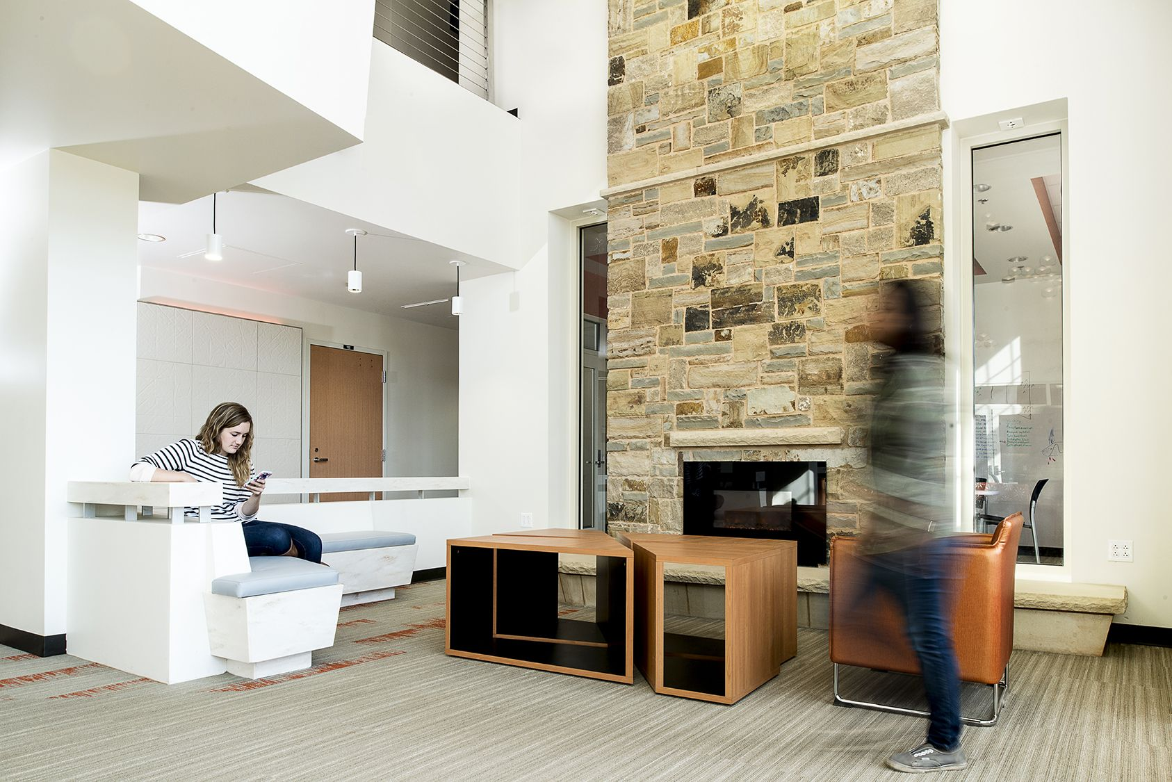 OSU lobby fireplace